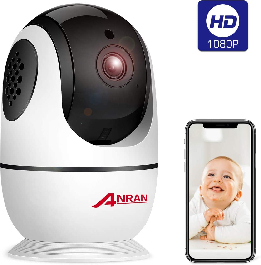 Wireless Security Camera 1080p, Home Smart WiFi Camera Indoor 360 Degree Pan Tilt for Pet,Elder,Baby Monitor with Panoramic View Night Vision,Two-Way Audio,Motion Detection,2.4G WiFi No TF Card ANRAN
