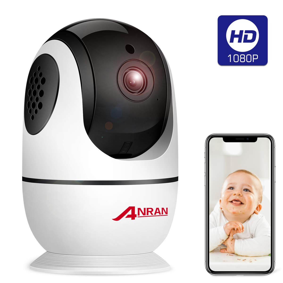 Wireless Security Camera 1080p, Home Smart WiFi Camera Indoor 360 Degree Pan/Tilt/for Pet,Elder,Baby Monitor with Panoramic View Night Vision,Two-Way Audio,Motion Detection,2.4G WiFi No TF Card ANRAN by ANRAN