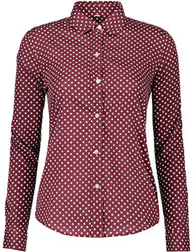 (ERZTIAY Women's Tops Feminine Long Sleeve Polka Dotted Button Down Casual Dress Blouses Shirts (Burgundy Medium))