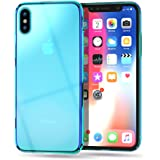 RAXFLY iPhone X ケース 全面保護強化ガラス 超薄型スマホケース 高級感 iPhone光学メッキ紫加工カバー 軽量 耐衝撃 傷つき防止 取り出し易い Qi充電対応