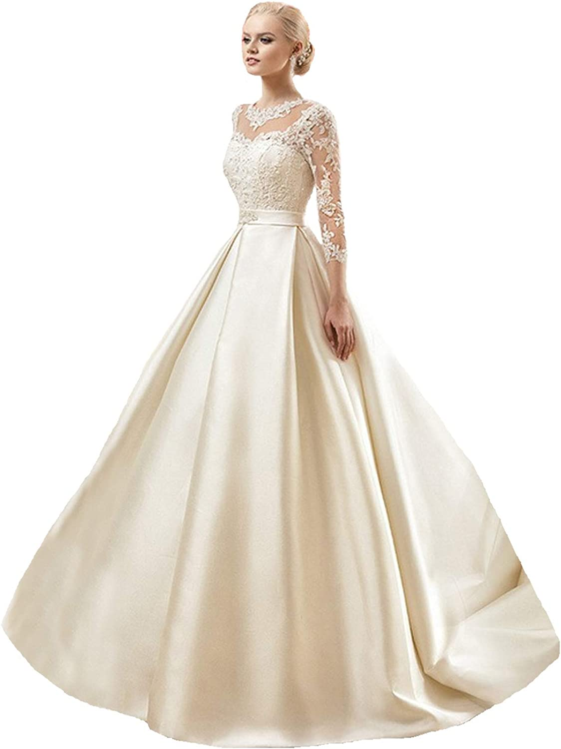 Amazon Com Dimei Lace Ball Gown Wedding Dresses Long Sleeve Princess Bridal Gowns Satin Bride Dress Clothing