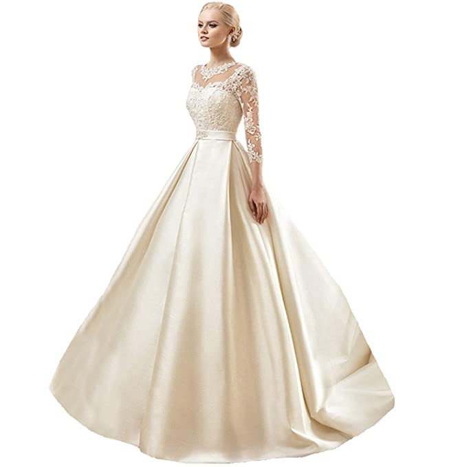Amazon.com: Dimei - Vestido de novia con bola de encaje ...