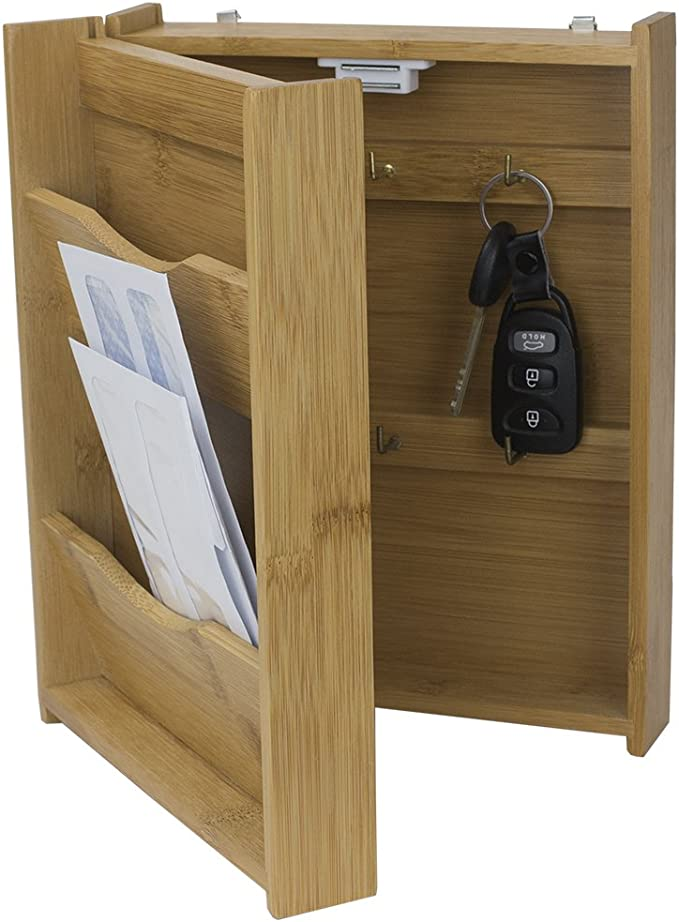 Amazon Com Home Basics Wall Mounted Letter Organizer With 6 Key Hooks Magnetic Closure Natural Key Hooks Kitchen Dining
