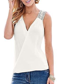 Mujer V Cuello Escotado por Detrás Sin Mangas Encaje Gasa Chaleco Tops Blanco XL