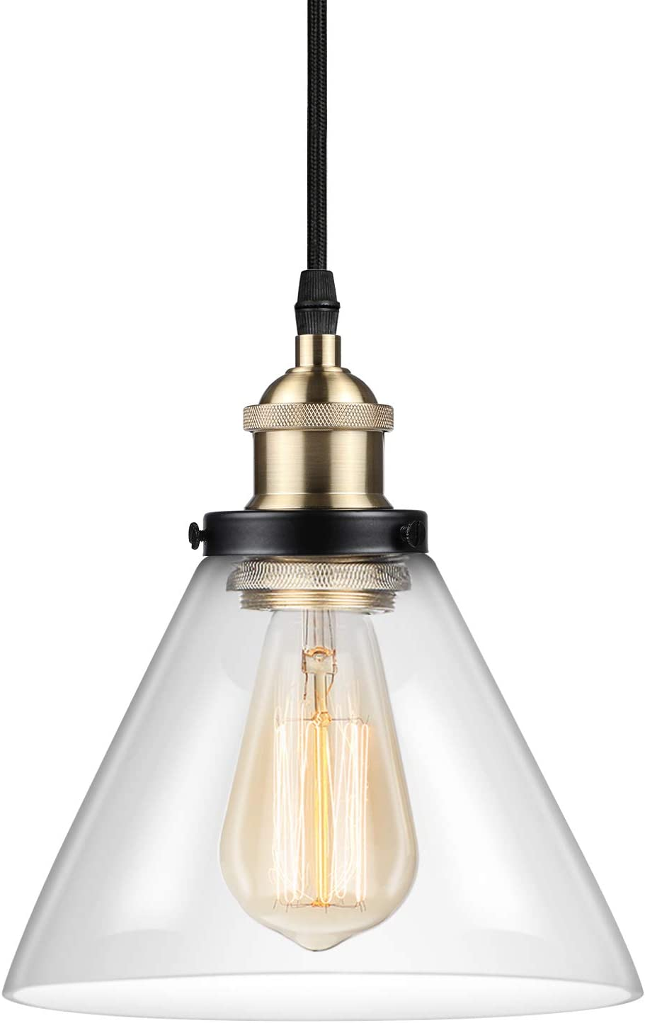 Ascher Industrial Edison Vintage Pendant Light, Clear Glass Shade 1-Light Ceiling Light Fixture, E26 Socket, 66.9 inches Adjustable Cord, Diameter 7.1 inches Bulb Not Included