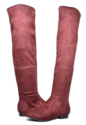 DREAM PAIRS NUSOX Women's Fashion Casual Pull On Slouchy Over The Knee High Boots