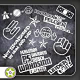 Sticker Bomb Set 01 - Bremsen...Felgen..., Shockerhand, Autobahnfreak, Fehlende PS..., Leider...