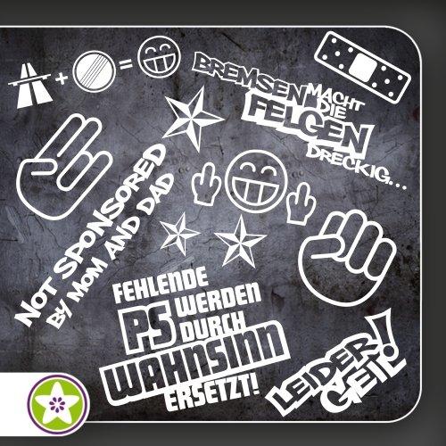 Sticker Bomb Set 01 - Bremsen...Felgen..., Shockerhand, Autobahnfreak, Fehlende PS..., Leider Geil... Verschiedene Farben