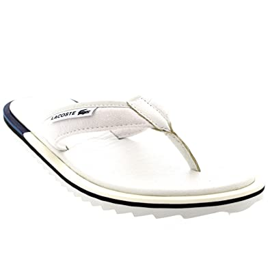 032878bec Lacoste Mens Athali 2 Vacation Leather Slides Flip Flops Beach Sandals -  Off White - 13