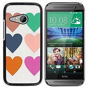 Be Good Phone Accessory // Dura Cáscara cubierta Protectora Caso Carcasa Funda de Protección para HTC ONE MINI 2 / M8 MINI // Hearts Love Teal Purple Orange White
