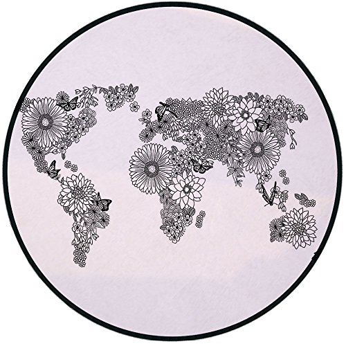 Printing Round Rug,Floral World Map,Floral Planet Petals with Butterflies Flying on Continents Oceans Graphic Decorative Mat Non-Slip Soft Entrance Mat Door Floor Rug Area Rug For Chair Living Room,Bl ()