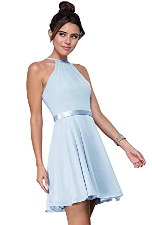 af80e9fd37d Zhongde Women s Halter Spaghetti Straps Chiffon Short Evening Party Dress  Short Homecoming Dresses with Belt Baby