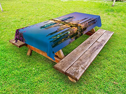 Lunarable Wanderlust Outdoor Tablecloth, Bangkok Thailand at Benjakiti Park Lake Flowers Palms Southeast Asia Touristic, Decorative Washable Picnic Table Cloth, 58 X 104 Inches, Multicolor (Furniture Bangkok Outdoor)