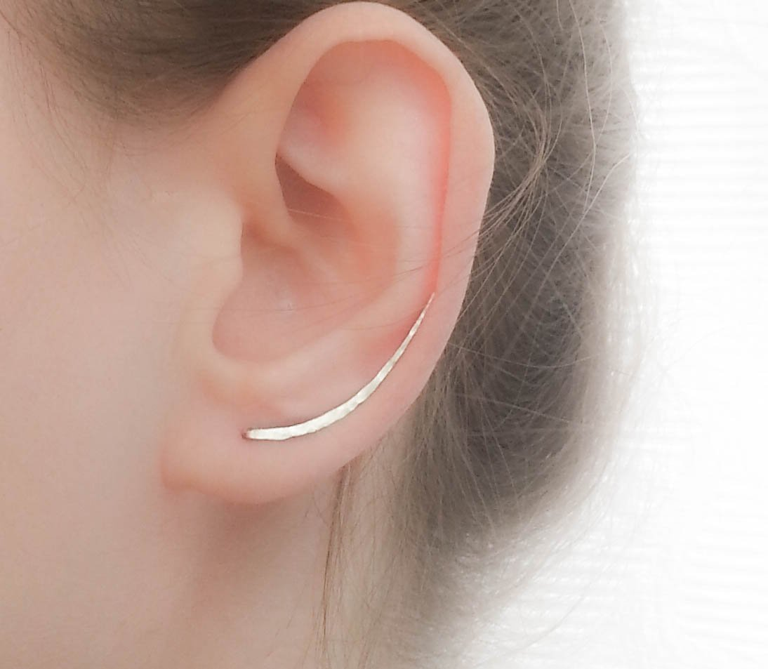Ear Climber Earrings Long Sterling Silver Climbers Crawler Bar Studs
