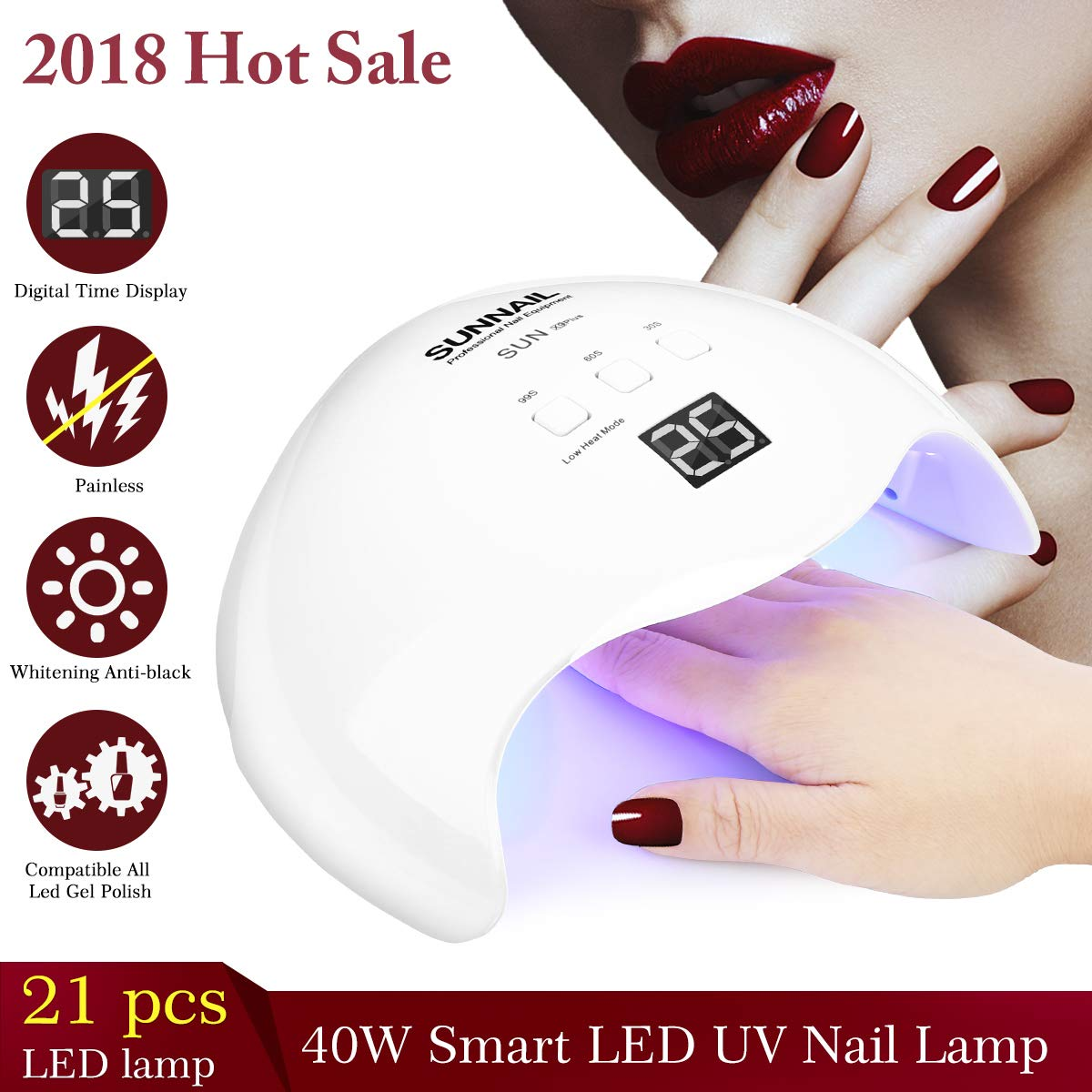 Amazon.com : Nail Lamp, UV LED Curing Lamps Nail Dryers for Gel ...