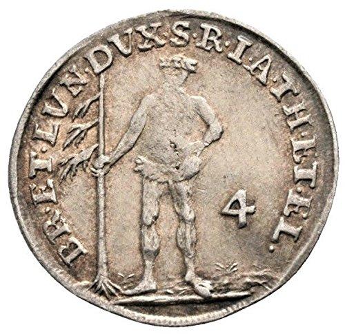 - 1746 DE Germany Wildman Antique Silver German Coin 4 Mariengroschen Good