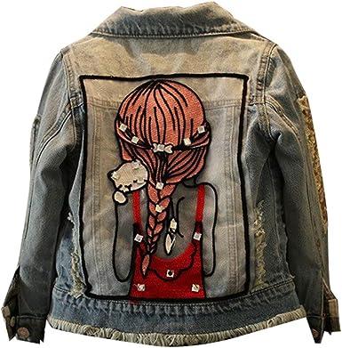 SXSHUN Fille Veste en Jeans Manches Longue Jacket Blouson Imprimé Cristal Denim Cowboy Outwear Enfants Haut VêTements