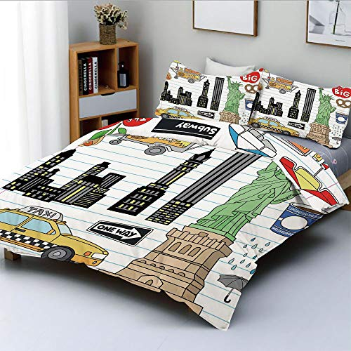 (Duplex Print Duvet Cover Set King Size,New York City Manhattan Statue of Liberty The Big Apple Hot Dog Stand Sketch StyleDecorative 3 Piece Bedding Set with 2 Pillow Sham,Multicolor,Best Gift For Kids)