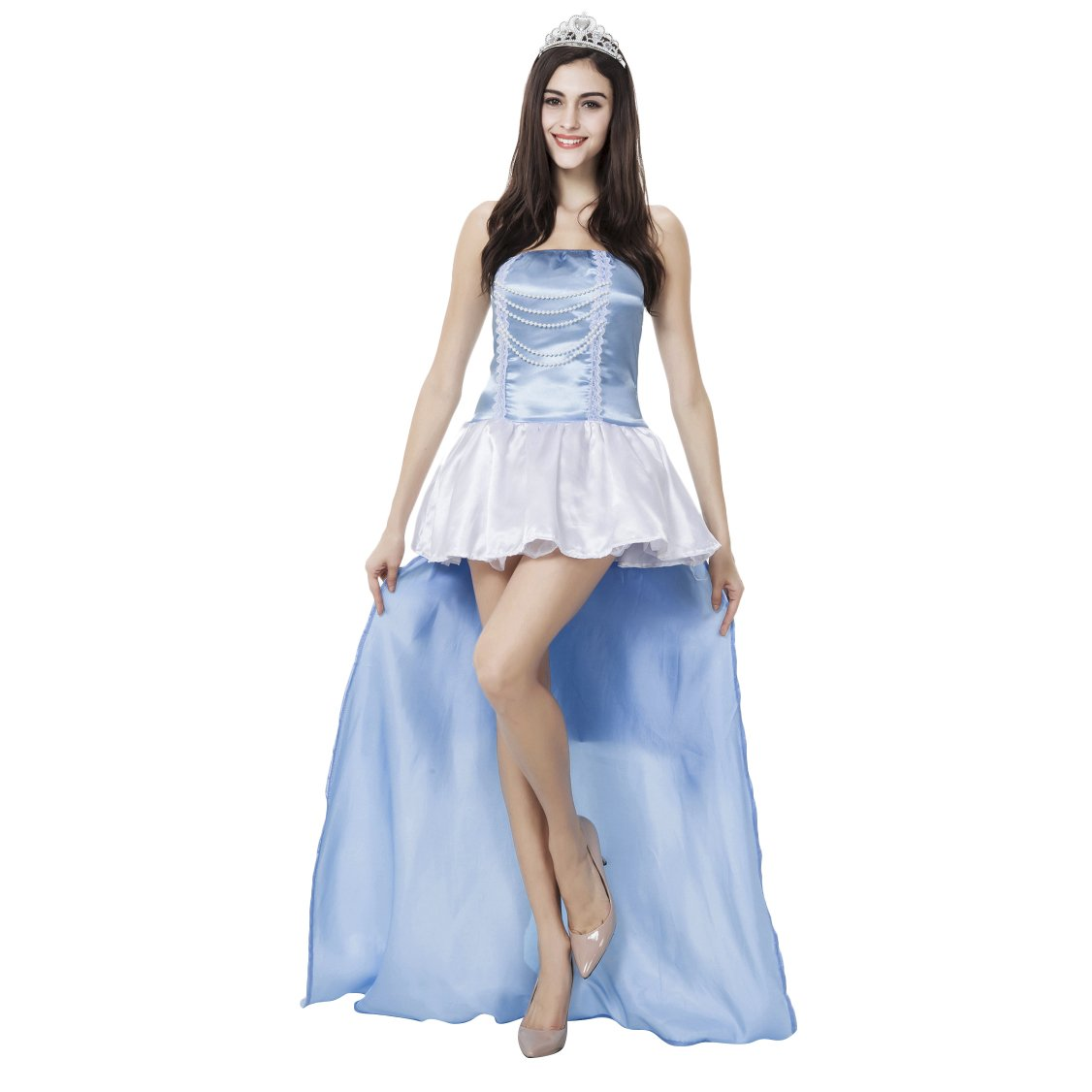 VENI MASEE Prinzessin Dress Halloween Kostüm Frauen, einschließlich der Kopfbedeckung und Handschuhe R-G-2HLW-1203