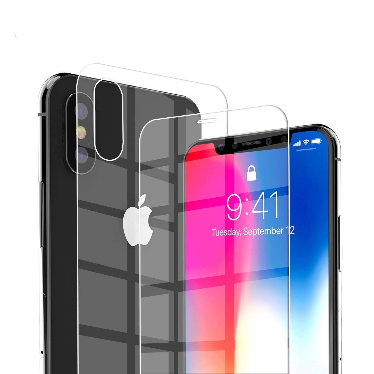 low priced a91d1 d2975 iPhone XS Max Screen Protector, Baseus Screen Protectors Compatible for  iPhone XS Max with Back Cover Glass Film Set(0.3mm Front film+0.3mm Back ...