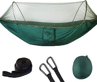 Liiby Hamac de Camping en Plein air avec moustiquaire - 200 kg Portant (290 x 140 cm) Respirant, hamac en Nylon pour Parachute à séchage Rapide Respirant,DarkGreen