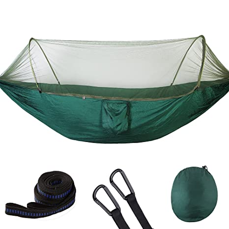 Double Portable Camping Hammock Lightweight Nylon Hammock With Mosquito Net For Backpacking Camping Travel Beach Yard Outdoor Furniture