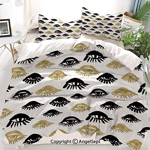 Trippy Decor Duvet Cover Set King Size,Sexy Woman Eyes with Eyelash Unusual Style Fashion Icon Modern Design,Decorative 3 Piece Bedding Set with 2 Pillow Shams