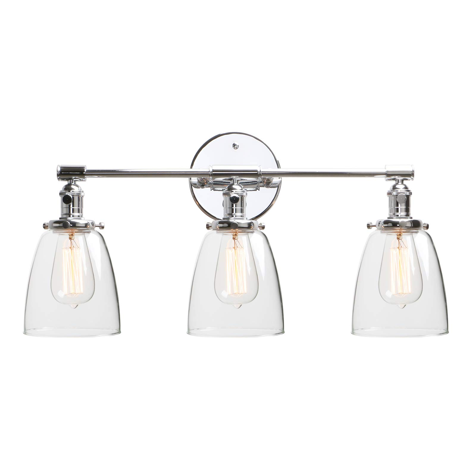 """Phansthy 3 Light Bathroom Vanity Light Industrial Wall Sconce with ON/Off Button and 5.6"""" Dome Clear Glass Shade, Polished Chrome"""