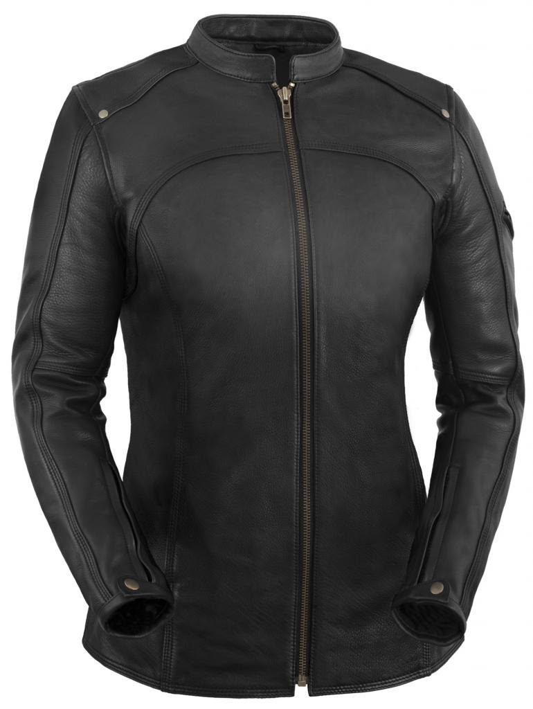 True Element Womens Longer Length Scooter Collar Leather Motorcycle Jacket (Black, Size XL)