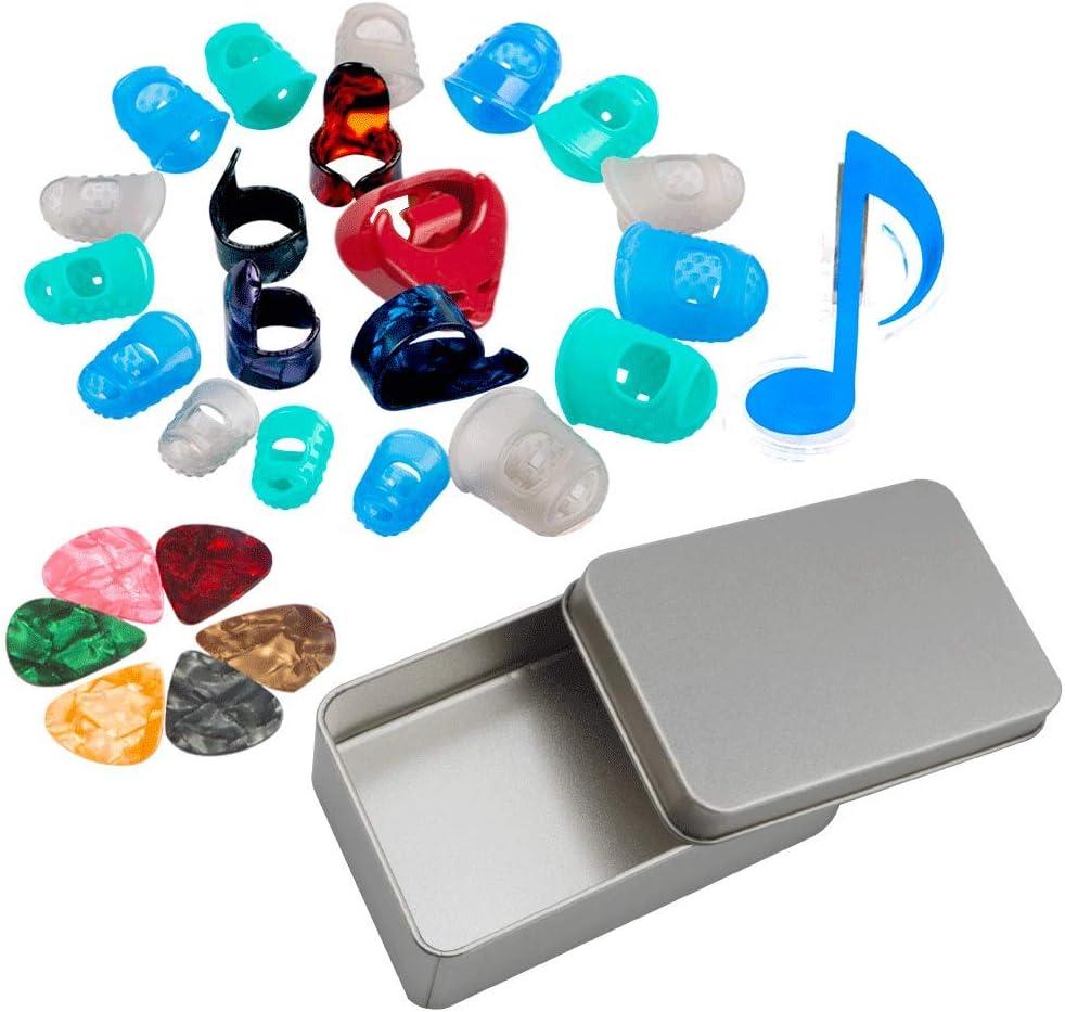 SINBLUE Kit de inicio de guitarra incluyendo púas de guitarra, protectores de dedos de guitarra, púas de pulgar
