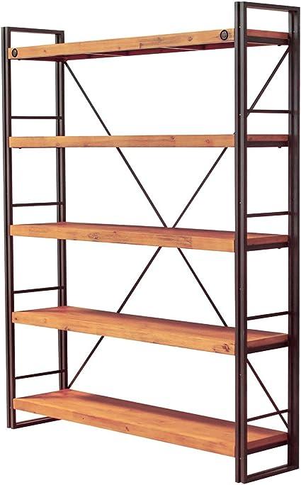 bibliotheque 5 etageres design style industriel en metal et bois d acacia l150 x 190 x35 cm facture et finitions soignees collection workshop