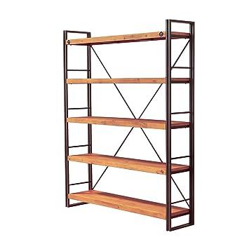 Bibliothèque 5 étagères design style industriel en métal et bois d ...