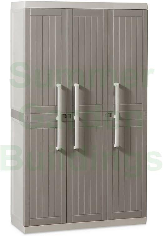 Armario de 3 puertas y jardín (Office/de plástico (Utilidad de – Caja de almacenaje, color gris madera estilo: Amazon.es: Jardín