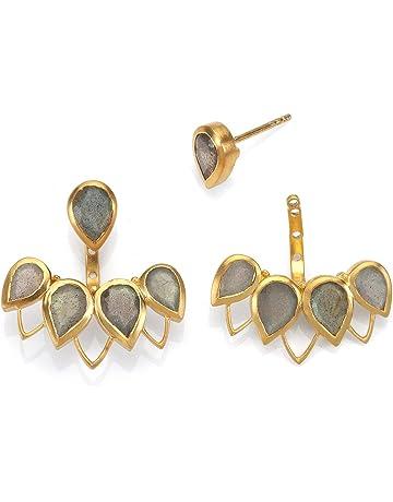 cc0783397 Satya Jewelry Labradorite Gold Plate Petal Bezel Earrings Jacket
