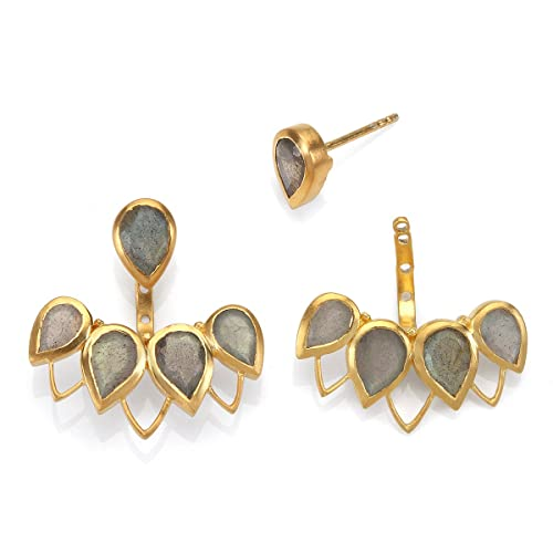 Labradorite Gold Petal Bezel Earrings Jacket