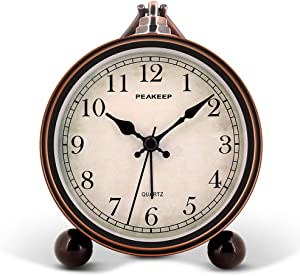 """Peakeep 4"""" Battery Operated Antique Retro Analog Alarm Clock, Small Silent Bedside Clock"""