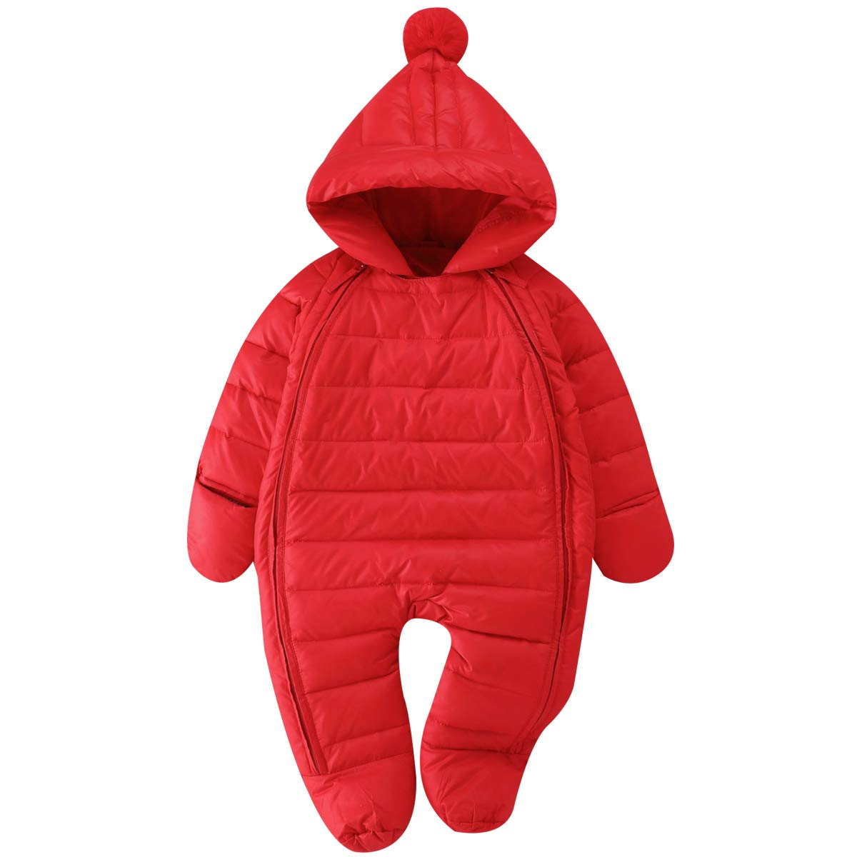 Bebone Newborn Baby Hooded Winter Puffer Snowsuit with Shoes and Gloves (RED,3-6M) by Bebone
