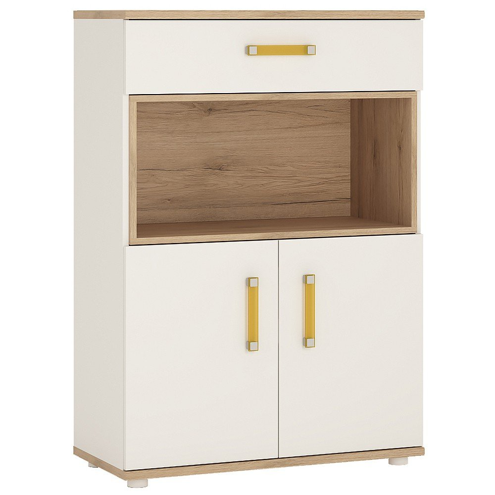 Furniture To Go 4Kids 2-Door Cupboard with 1-Drawer and Open Shelf with Orange Handles, Wood, White Gloss/Light Oak Wojcik 4053144P