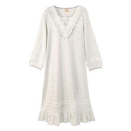 Pijamas de Manga Larga de algodón de Punto camisón de Las Mujeres en una Falda Larga