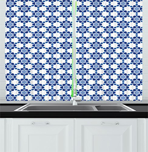 Ambesonne Moroccan Kitchen Curtains, Ottoman Oriental Tile Mosaic Image Hexagonal Honeycomb Shaped, Window Drapes 2 Panels Set for Kitchen Cafe, 55W X 39L Inches, White Turquoise and Dark Blue (Shaped Shade Hexagonal)