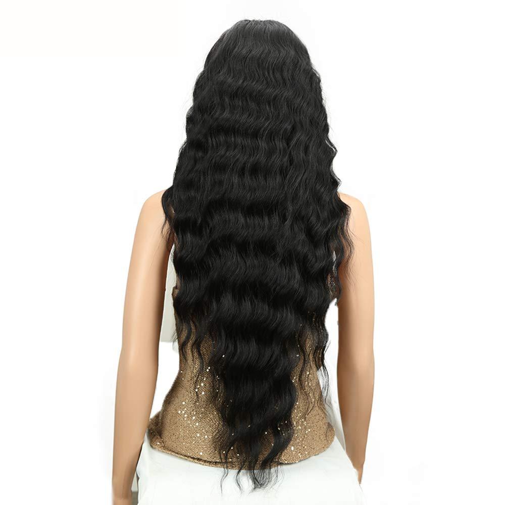 AZHENGGQIAN Long Wig deep Wave high Temperature Fiber Middle Part 30 inch 150% Heavy