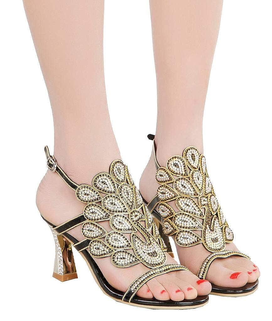 YooPrettyz Women Open Toe Studs B07GGTPLYG Heeled Sandals Ankle Strap Evening Wedding Party Heels B07GGTPLYG Studs 7 M US|Black1 156a9e