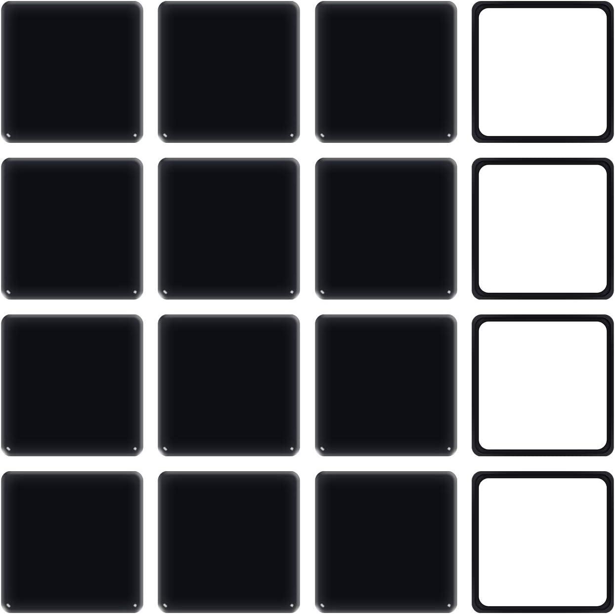 "Ezprotekt Square Black 16 Pack Self-Stick Furniture Sliders 2-1/2"" Furniture Moving Pads Heavy Duty Adhesive Furniture Movers for Carpet"