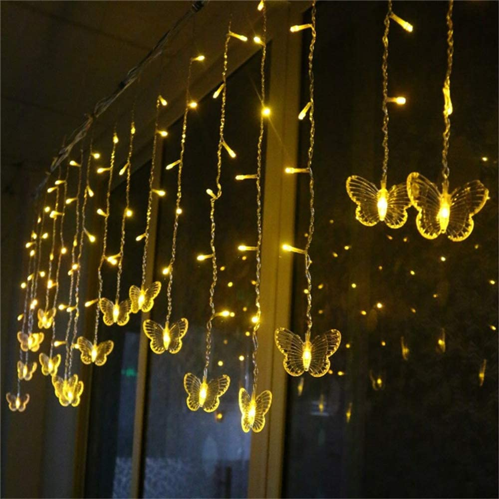 Lainin String Light 3.5M/11.5FT 96SMD Curtain Light 16 LED Butterfly Strings 8 Mode Fairy Light Strip Party Indoor Outdoor Room Garden Wall Wedding Christmas Xmas Decorations (Warm White)