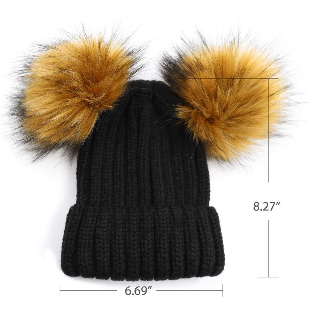ae7bfac1a829 Lvaiz Kids Faux Raccoon Fur Ball Pompom Ears Winter Bobble Hat Knitted  Double Pom Cap Kids