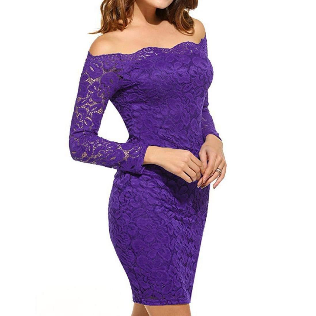 Violet MJY La mode des femmes élégante robe en dentelle, hors épaule hommeches longues Vintage Cocktail Party jupes serrées,Marine,L_UK 12-14 L_UK 12-14