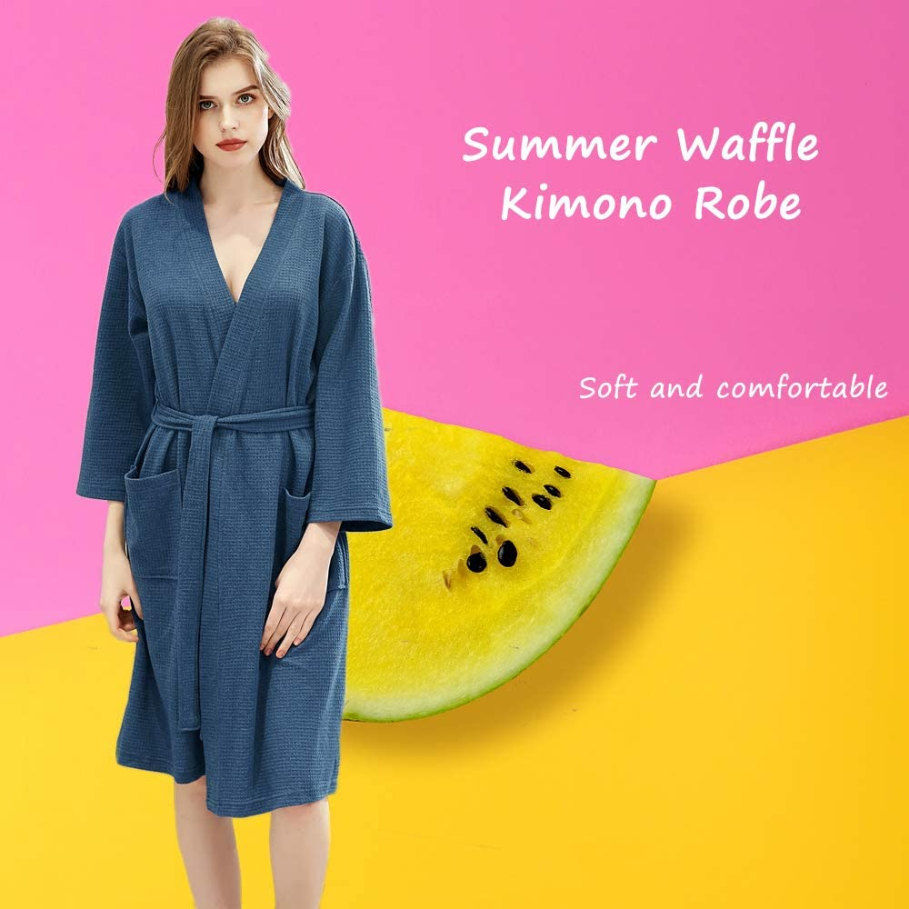 NEW LADIES WAFFLE 100/% COTTON SUMMER DRESSING GOWN ROBE ANIMAL PRINT