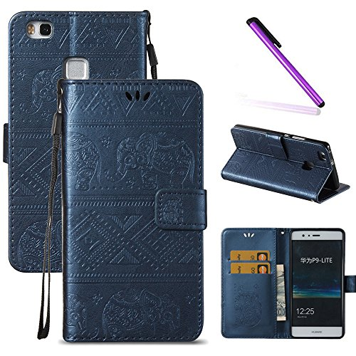 Huawei P9 Lite Case,LEECOCO Fancy Embossed Wallet Case with Card / Cash Slots [Kickstand] Shockproof Premium PU Leather Flip Case Cover for Huawei P9 Lite / P9 Mini (2016) Elephant Blue (Best Huawei P9 Lite Case)