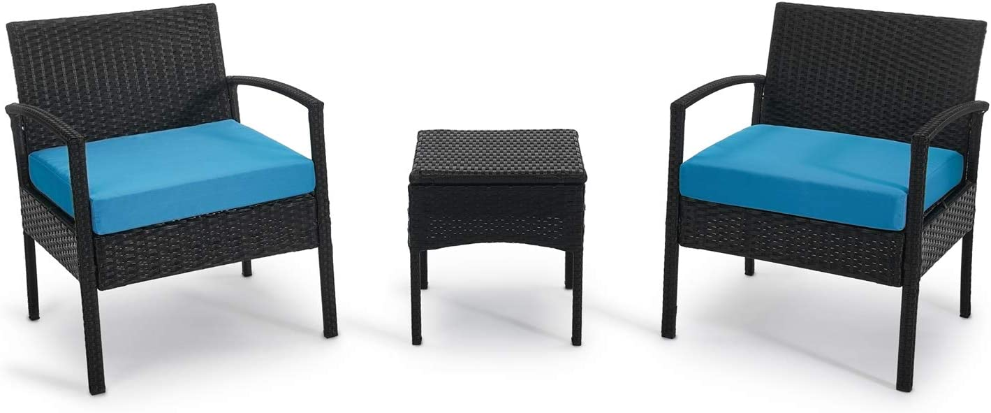 Patio Outdoor Chairs 3 Set-1 Conversation Table & 2 pcs Rattan Sofas with Backrest Soft Cushions Garden Furniture Sets Suit to Lawn Backyard Pool (Blue)