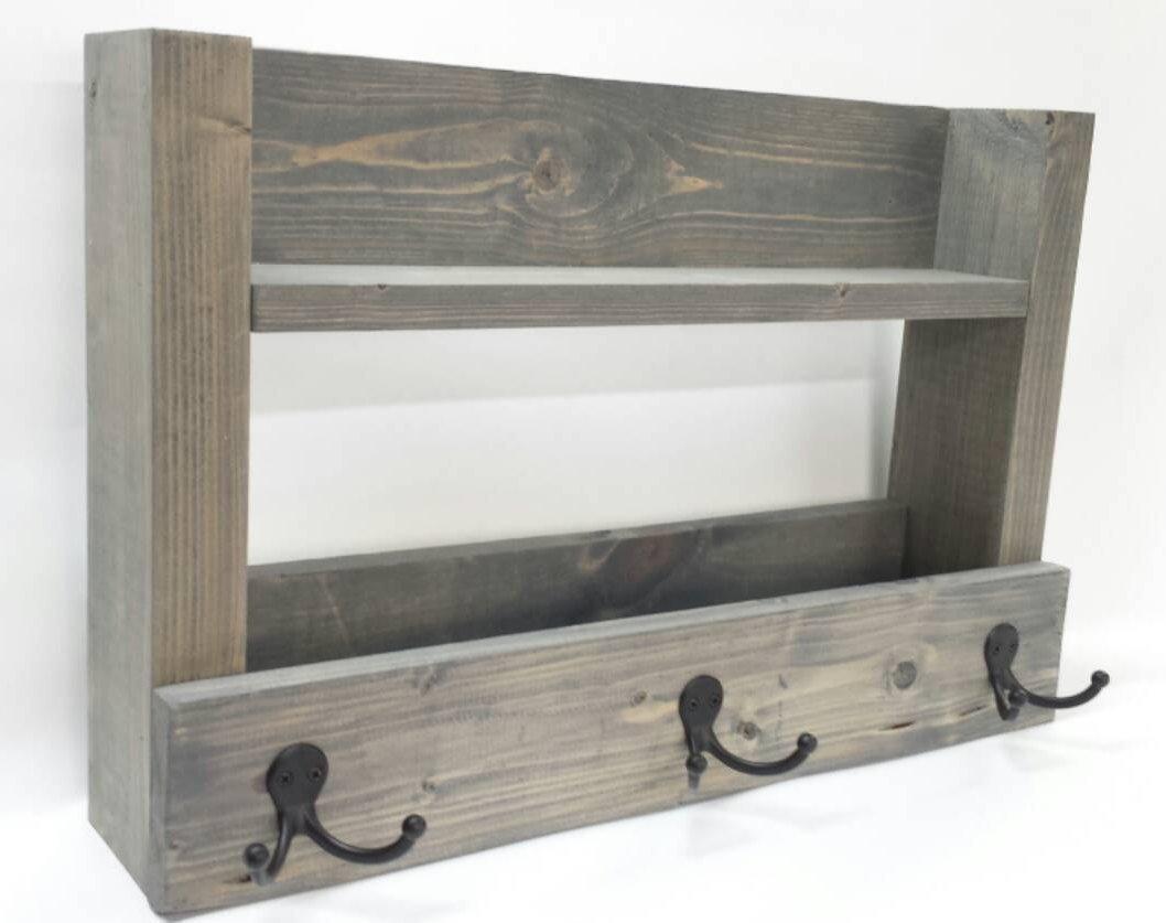 Entry Way Shelf/Key Organizer - Coat Rack - Hat Holder - Mail Storage - DavesWoodDesigns